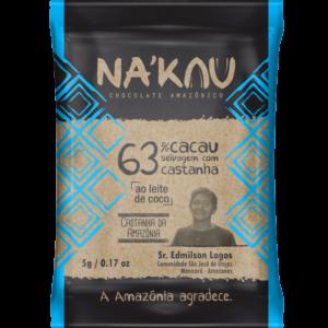 Chocolate Nakau 63% Cacau ao Leite de Coco 5g